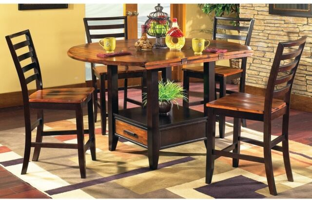 Acacia 5 Piece Counter Height Lazy Susan And Storage Dining Set By Greyson