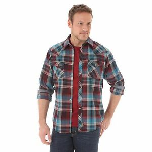 WRANGLER-Retro-Men-039-s-Turquoise-Red-Blue-Plaid-Snap-Flannel-Western-Shirt-MVR271M