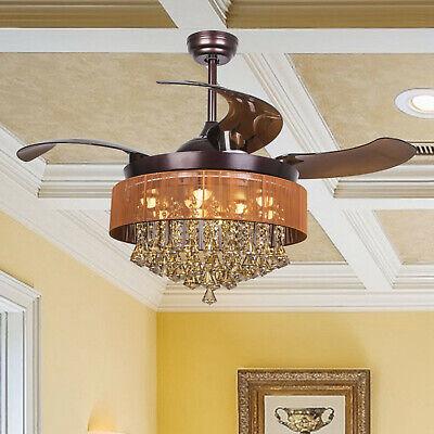 46 Quot Fandelier Indoor Ceiling Fan Led Light Retractable 4 Blade Chandelier Bronze Ebay
