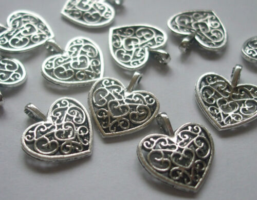 Crafts 12  24 or 48 x Heart Filigree Style Charms Antique Silver Tone 17x15mm