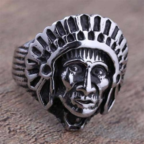 Bague homme tête d'indien stainless steel color silver poli top qualité T.66