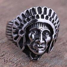 bague homme tête d'indien stainless steel couleur argent poli top qualité T.66