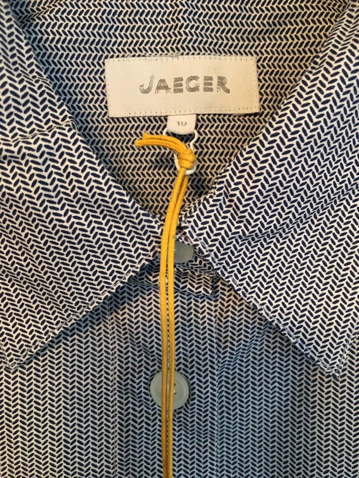 Jaeger damen Long Sleeve Fitted Cotton Shirt Multicolour Größe 10 RRP BNWT
