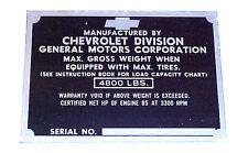 1951 1952  Door Plate Chevrolet Chevy 1/2 ton Pickup Trucks 51 52  EACH