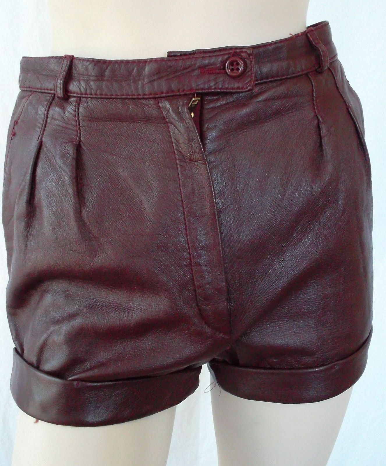 Women's Genuine Lambskin Leather Shorts Ladies Gym Sports Hot Sexy Pants LS78