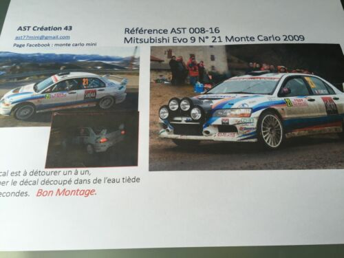 NEW DECAL CALCA 1 43 MITSUBISHI EVO 9 N°21 Rally WRC monte carlo 2009 montecarlo