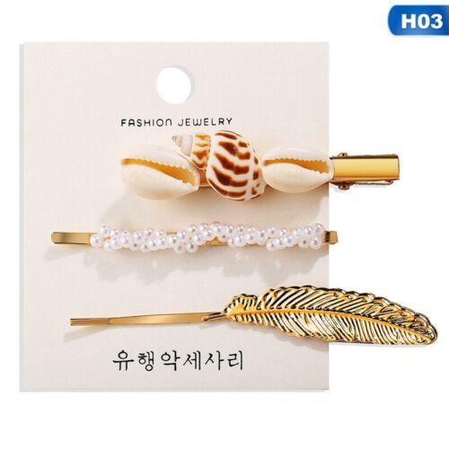 Reihe von Sea Shell Haarnadeln Strand Mädchen Perle Haar Klammern Haarsch D9LS