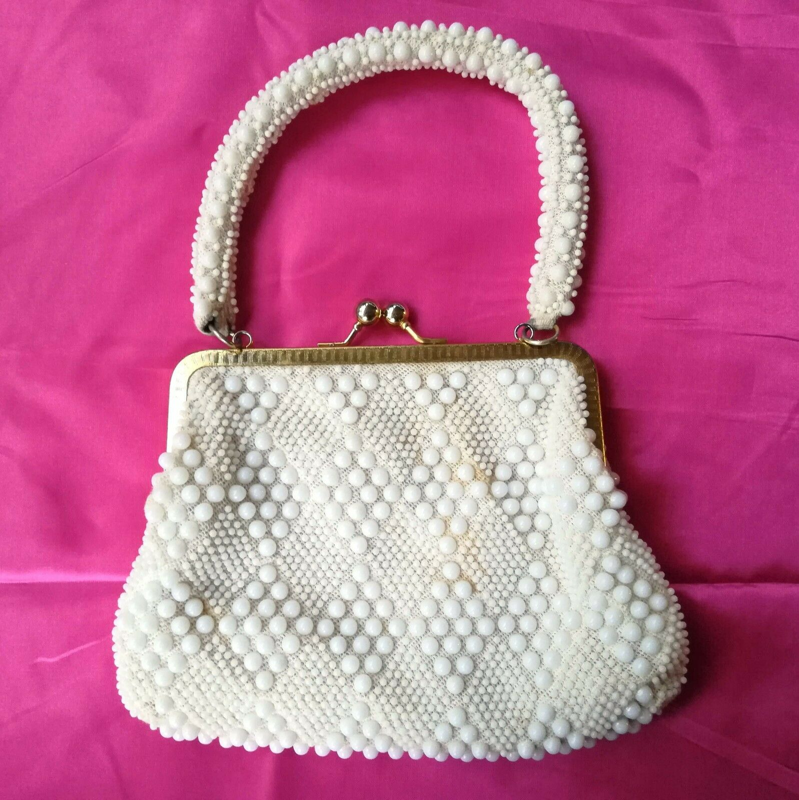 Vintage Beaded Handbag Cream White Hand Made in Hong Kong 1950s