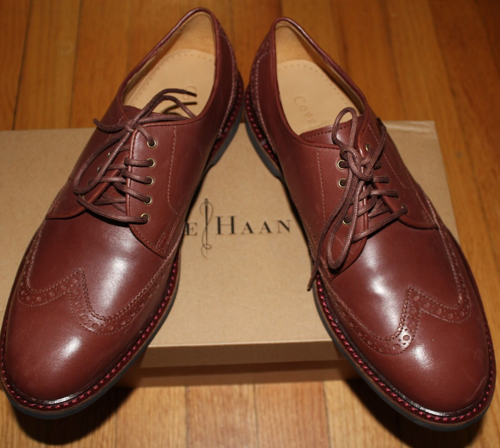198 COLE HAAN CINNAMON WINGTIP LEATHER LACE UP SHOES SZ 8M