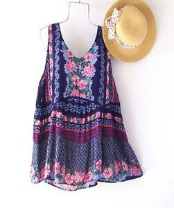 New-59-Blue-Rose-Floral-Crochet-Lace-Peasant-Blouse-Tank-Boho-Plus-Size-Top-1X