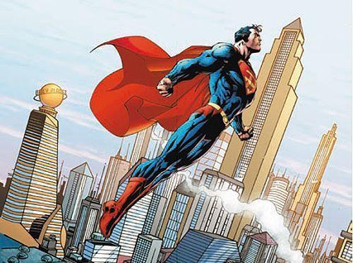 Dc Comics   Metropolis Skyline Tableau Prêt 60x80 Tableau Mural Superman