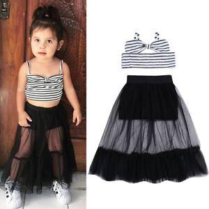 90beb8db07e9 2PCS Toddler Kids Baby Girls Crop Tops+Tutu Dress Skirt Outfits ...