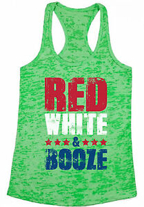 43993eefd826d5 Red White And Booze Women s Burnout Racerback Tank Tops USA Flag 4th ...