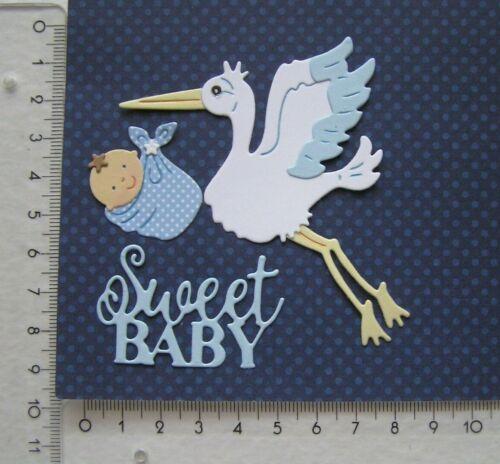 Storch bringt Jungen Kartenschmuck Scrapbooking Sticker Stanzteile Baby b85