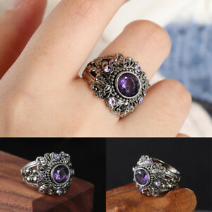 Parte-Encanto-Moda-Mujeres-Amatista-Vintage-Compromiso-boda-Leaf-Flower-Ring