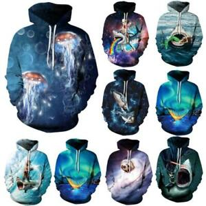 Couples Galaxy Animal Graphic 3D Print Hoodie Sweatshirt Jacket Coat Jumper Tops