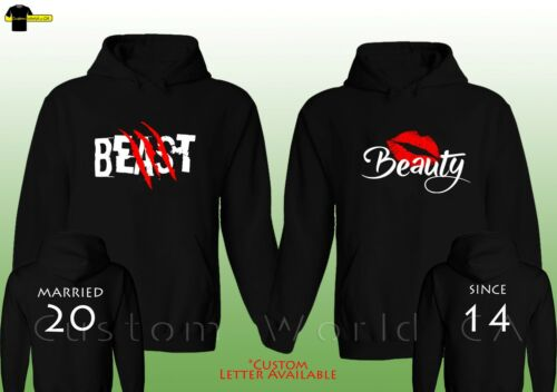 "/""Married Since/"" Beast /& Beauty Love Matching Hooded Couple Custom Made Hoodie"
