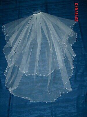 Brautschleier Mit Kamm Hochzeit Braut 2 Schicht Lang 58 Cm Und 80 Cm