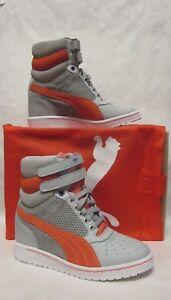 44930d10f2a Puma Womens Sky Wedge Grey Orange Hi Top Sneaker - SIZE 6 ...