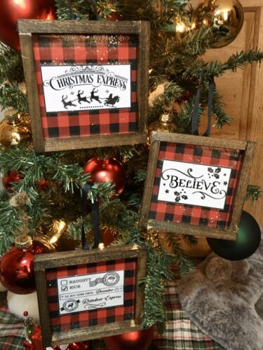 Details about  /3 Farmhouse Style Rustic Christmas Ornaments Mini Signs Holidays Buffalo Check