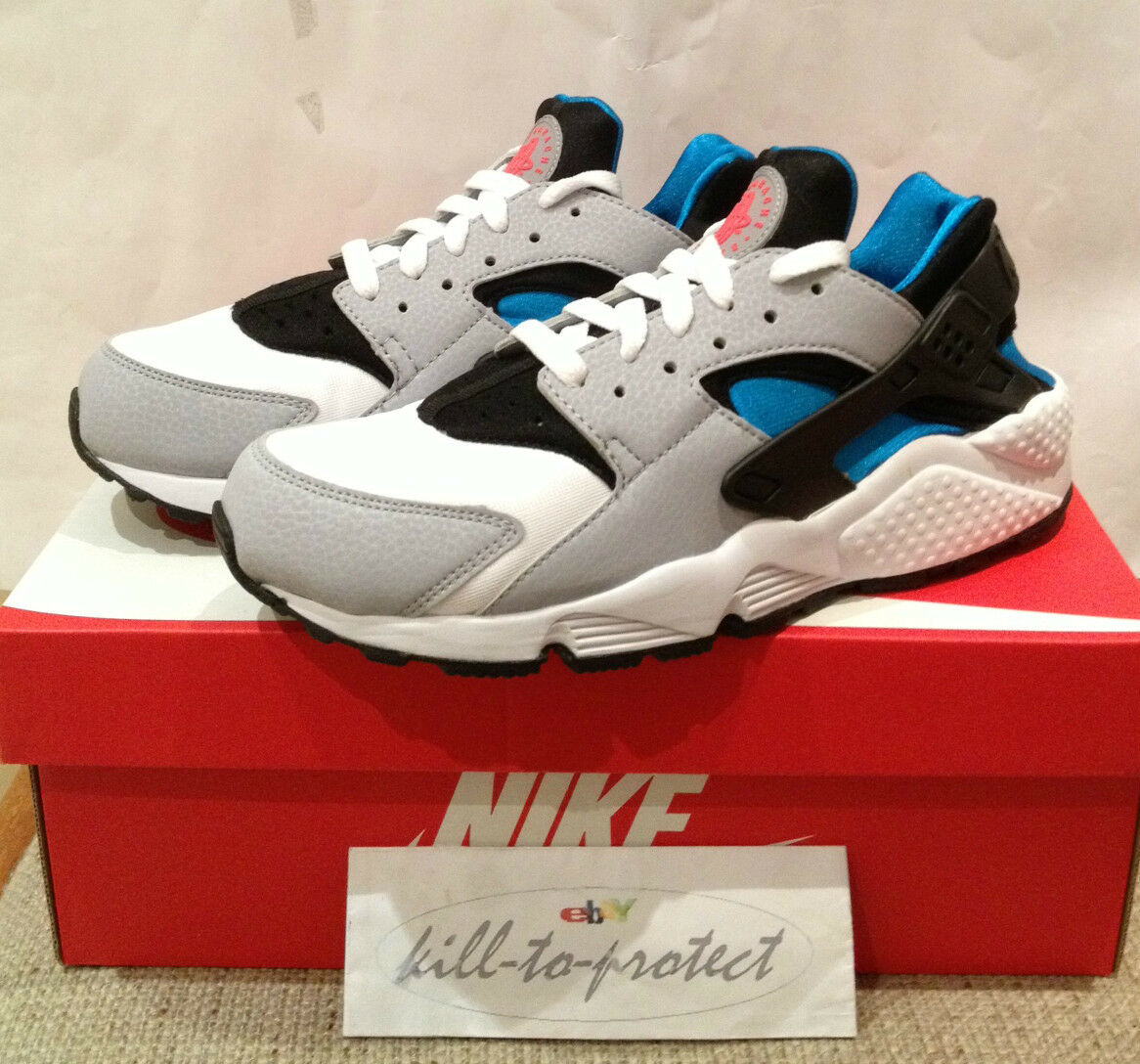 NIKE AIR HUARACHE LE Sz US Grey bluee Silver 318429-140 2013