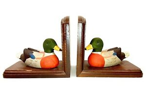 Pair of Hand Carved & Painted Vintage Mid Century Wooden Mallard Duck Bookends