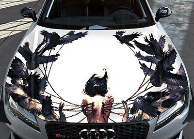 Wenqing Yan Birds Blood Car Hood Wrap Full Color Vinyl Sticker Decal Fit Any Car