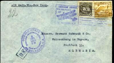 "Mit Doppeldecker R1 ""o.k."" Stpl 409956 El Salvador Luftpostbrief 1936"