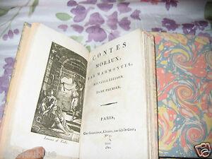 Marmontel-Contes-Moraux-4-vol-1822-relies-plein-Papier-Gravures