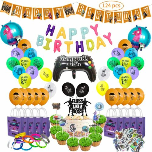 124 PCS Video Game Party Supplies for Kid Birthday Decoration Bracelets,Gift Bag