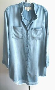 New-Anthropologie-Cloth-amp-Stone-Tencel-Dress-Rolled-sleeve-Chambray-Blue-Sz-S