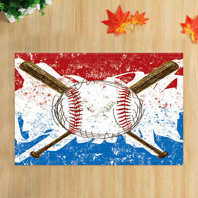 Colorful Baseball Decor Bath Rugs Bathroom Rug Non-Slip ...