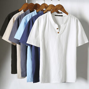 Men's Retro Cotton Linen Button Tops Tee Short Sleeve Casual Shirts Summer Tops