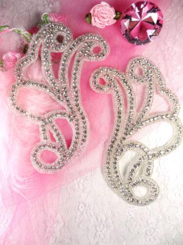 Rhinestone Appliques JB11 Crystal Beaded Mirror Pair Bridal Sash Motifs Crafts