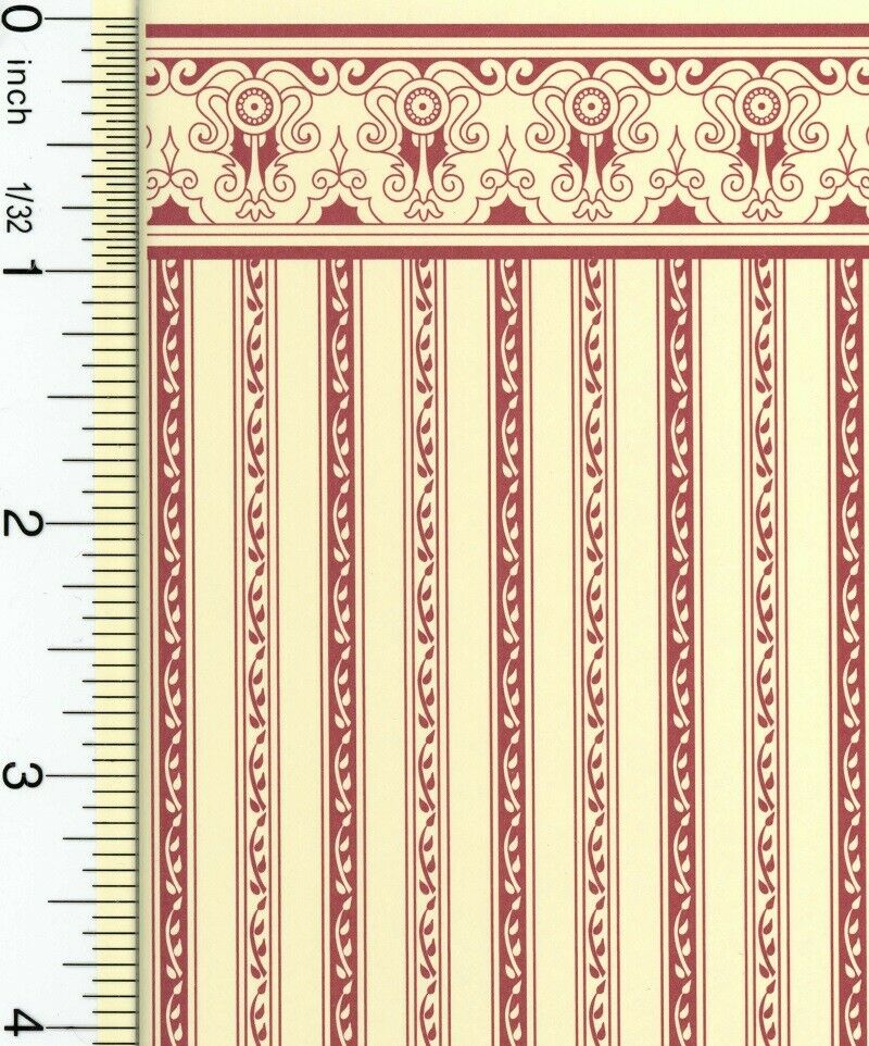 Dollhouse Wallpaper Estate Burgundy Stripe NO BORDER
