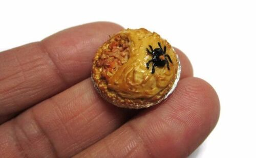 Pumpkin Spider Pie On Tin Pans Dollhouse Miniatures Food Bakery Holiday Season