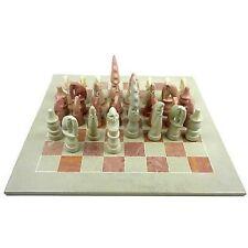 "Handmade Hand Carved Soapstone Maasai Chess Set - 14"" Board"