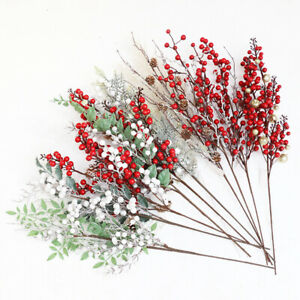 Christmas-Artificial-Branches-Pine-Berry-Cone-Red-Fruit-Decor-Fake-Flower-Tree