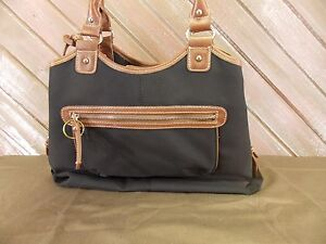 9f4a2dc7a CHAPS Purse Shoulder/Handbag Black and Brown Leather Handles Satchel ...