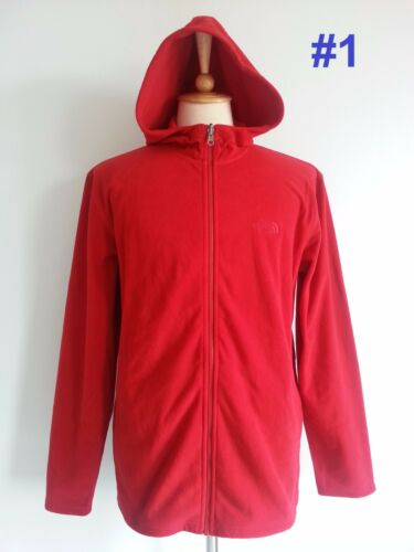 NWT The North Face Mens Hoodie Full Zip Soft Fleece Jacket Red Black Gray S M L
