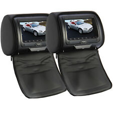 "2 x 7"" Digital Kopfstütze DVD Player Monitor HD Auto headrest SCHWARZ Game"