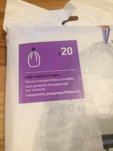 Code H *CLEAR* Recycling 20 Ct SIMPLEHUMAN Custom Trash Bags Can Liners Refill