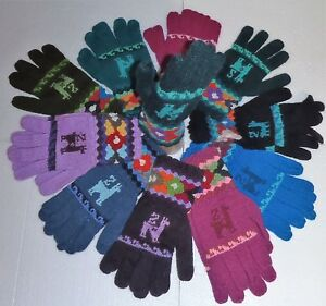 UNISEX-ALPACA-WOOL-Hand-Knitted-GLOVES-VERY-WARM-Long-Cuff-Medium-Size