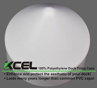 Round Cone 9 Inch White XCEL Polyethylene Dock Piling Cap