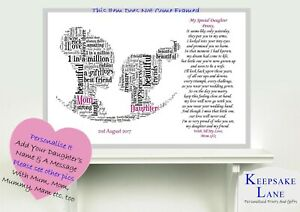 Details about Personalised Wedding Day Poem Gift From MAM Mother of Bride  to Daughter Mom Mum