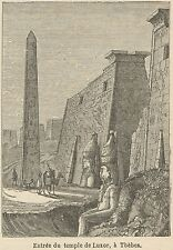 C8699 Egypt - Thebes - Luxor Temple - Stampa antica - 1892 Engraving