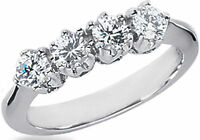 0.80 carat DIAMOND WEDDING RING Anniversary Gold Band  F color VS, 4 x 0.20 ct
