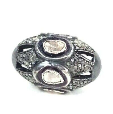Handmade Design 925 Solid Silver Beads Natural Pave Diamond Polki Beads Jewelry