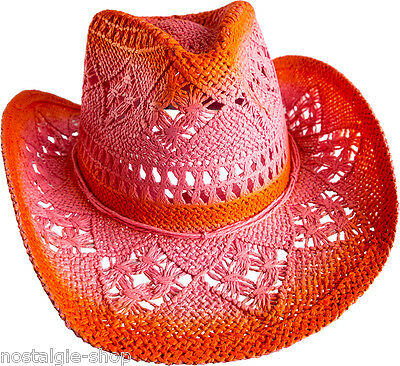 Liberal Cowboy Hut Orange Strohhut Tex Mex Western Hat Country Trapper Kult Riding