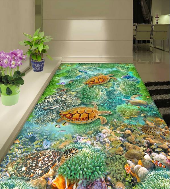 3D Sea turtles stone 433 Floor WallPaper Murals Wall Print Decal 5D AJ WALLPAPER